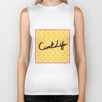 cunt Biker Tanks featuring cunt life yellow by Andy Aidekman