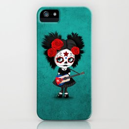 Day of the Dead Girl Playing Cuban Flag Guitar iPhone Case