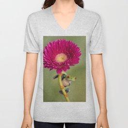 Red Eyed Tree Frog on a Flower Unisex V-Neck