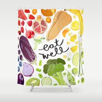 eat Shower Curtains featuring Eat Well by Emma Fitzgerald