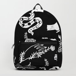 Linocut snakes hand rose floral black and white spooky gothic pattern Backpack