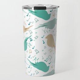 Music birds white pattern Travel Mug