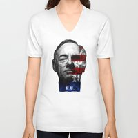 house of cards V-neck T-shirts featuring House of Cards by offbeatzombie