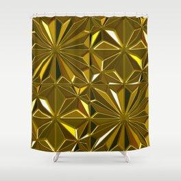 3-D Art Deco 24-Karat Gold Hues Tile Pattern Shower Curtain