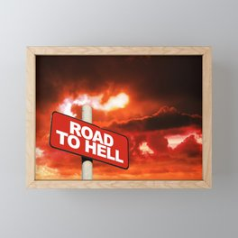 Road to hell sign Framed Mini Art Print
