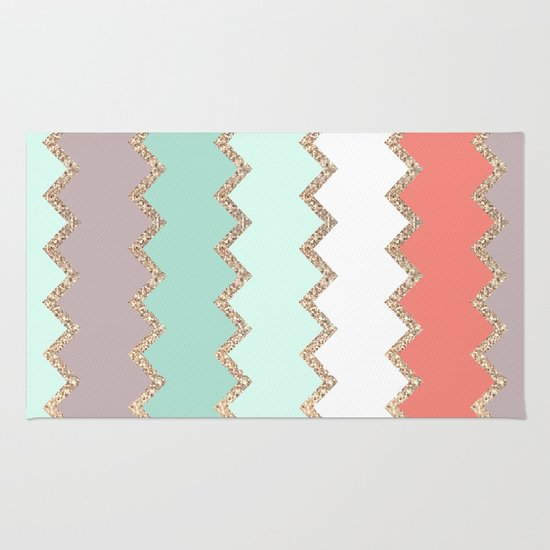 Avalon Coral Mint Rug By Monika Strigel Society6