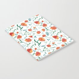 Watercolor floral - deep oranges Notebook