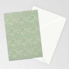 Mint green watercolor hand painted floral leaves Stationery Cards