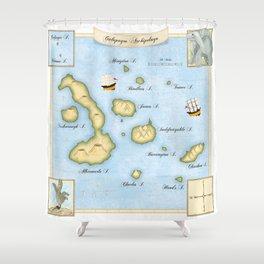 Galapegos Archipelago Illustrated Map Shower Curtain