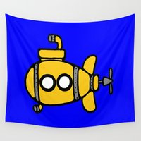 submarine Wall Tapestries featuring Yellow Submarine by Caroline Blicq