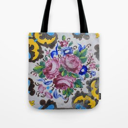 Floral tile yellow turquoise Tote Bag