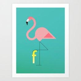 F for Flamingo Art Print