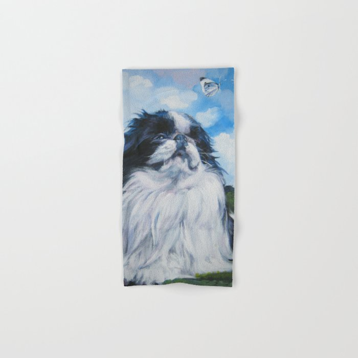 Japanese Chin dog art from an original painting by L.A.Shepard Hand & Bath Towel