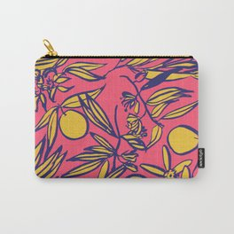 Orange Blossoms on Pink Carry-All Pouch