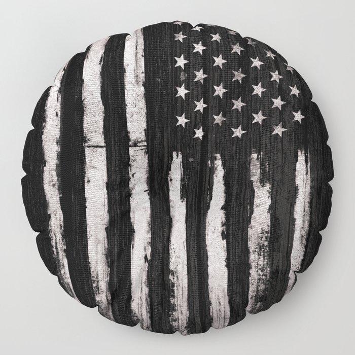 White Grunge American flag Floor Pillow