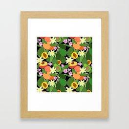 Avocado + Peach Stone Fruit Floral in Black Framed Art Print