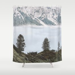 mountains fog trees foot hills Shower Curtain