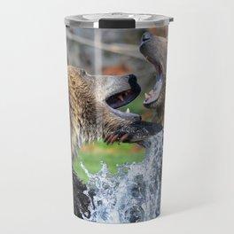 Wild Grizzly Bear Fight Travel Mug