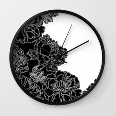 FLORAL IN BLACK AND WHITE Wall Clock