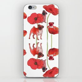 Pugs and Poppies iPhone Skin