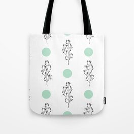 Black brunches & green dots pattern Tote Bag