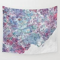 toronto Wall Tapestries featuring Toronto map by MapMapMaps.Watercolors