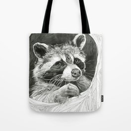 Raccoon In A Hollow Tree Drawing Tote Bag
