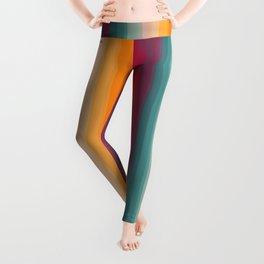 Retro Rainbow Striped Pattern Leggings