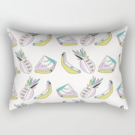 Memphis Tropical Fruit Pattern, Pinapples, Bananas, Watermelon, Seamless Rectangular Pillow