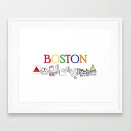 Boston sweet and simple landmarks Framed Art Print