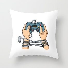 Hands tied by wire Throw Pillow