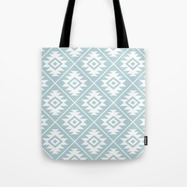 Aztec Symbol Ptn White on Duck Egg Blue Tote Bag