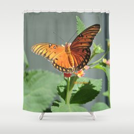 Gulf Fritillary on Lantana Shower Curtain