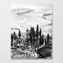 Tuscany Vineyard Italy Black and White Watercolor Painting Canvas Print