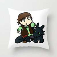 hiccup Throw Pillows featuring Chibi Hiccup and Toothless by Gio Garcia