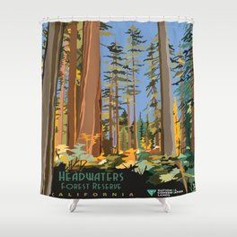 Vintage poster - Headwaters Forest Reserve Shower Curtain