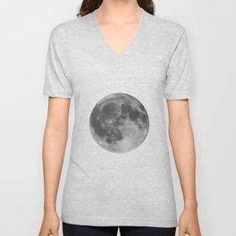Full Moon on Black Unisex V-Neck