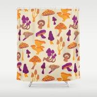 mushrooms Shower Curtains featuring Mushrooms by Eine Kleine Design Studio