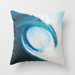 Flower of life in a wave Throw Pillow
