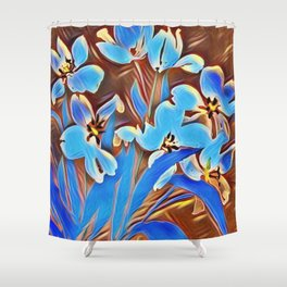 Painted Forget Me Nots Shower Curtain