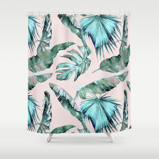 Tropical Palm Leaves Turquoise Green Coral Pink Shower