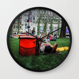 People Laying in the Street Garden Wall Clock