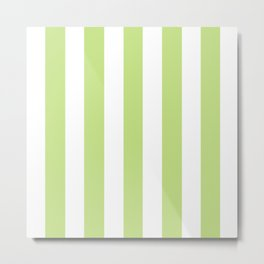 Yellow-green (Crayola) - solid color - white vertical lines pattern Metal Print