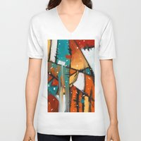 camp V-neck T-shirts featuring Camp fire by mystudio69