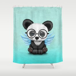 Cute Panda Cub with Fairy Wings and Glasses Blue Shower Curtain