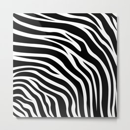 Animal Print Pattern - Zebra Black & White Metal Print