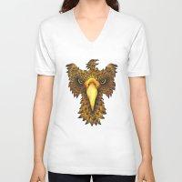phoenix V-neck T-shirts featuring Phoenix by J Bradford Illustration