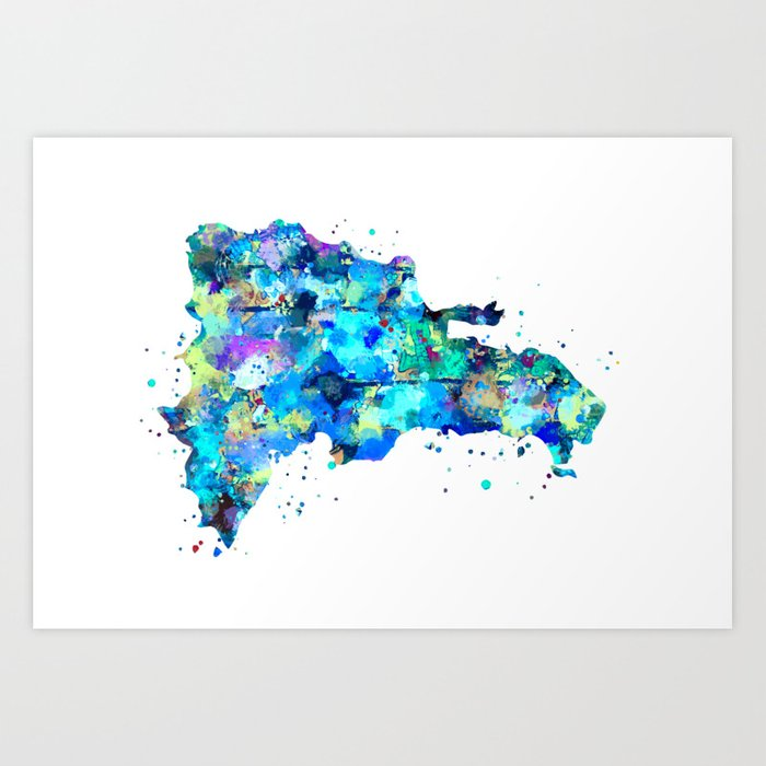 Dominican Republic Map Art Print by zuzis | Society6 on