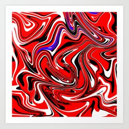 Red colorful marble pattern Art Print