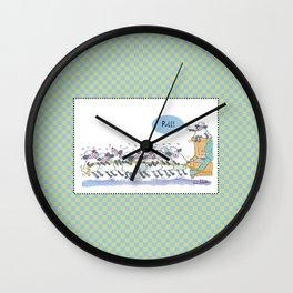 Sheep & Piano- Green Wall Clock